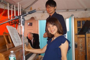 muzycy z Japonii Soushi Kubota i Eiko Suzuki, w tle operator dzwieku Mariusz Bryszkiewicz