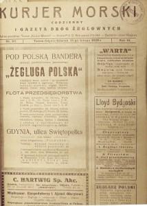 1 wydanie Kurjera Morskiego z 15 lutego 1929 r.